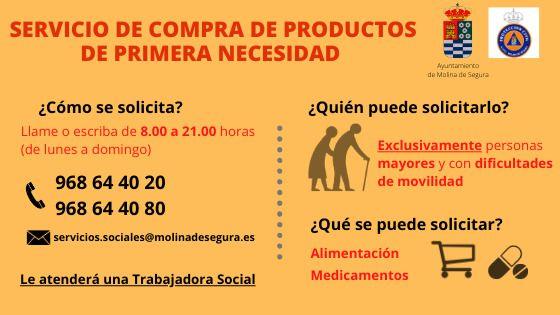 La Concejalía de Bienestar Social de Molina de Segura pone a disposición exclusivamente de las personas mayores o con movilidad reducida un servicio de apoyo para la realización de tareas básicas durante el estado de alarma por el COVID-19 - 1, Foto 1