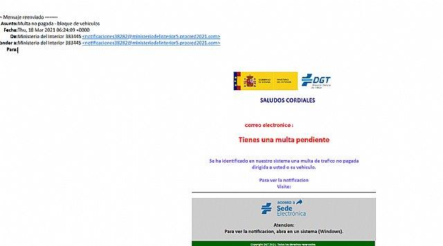 CONSUMUR alerta de un correo electrónico fraudulento, que suplanta a la DGT y nos informa de una supuesta multa de tráfico - 1, Foto 1