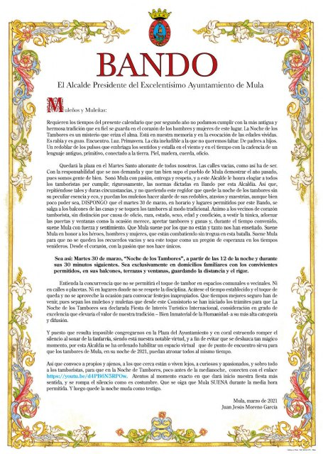 Bando del Alcalde: Noche de los Tambores 2021 - 1, Foto 1