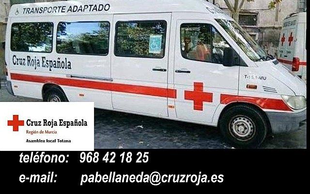 [Cruz Roja de Totana pone a disposición de las personas que tengan reducción de movilidad vehículo adaptado para desplazamiento a Lorca
