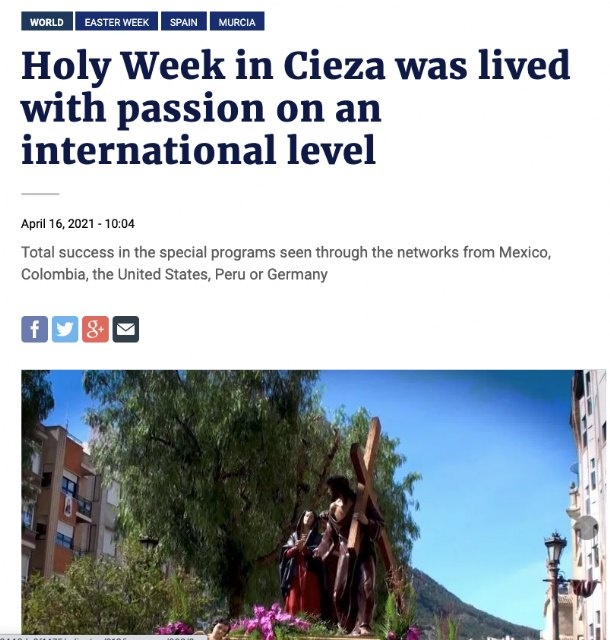Gran repercusión internacional de la Semana Santa de Cieza - 5, Foto 5