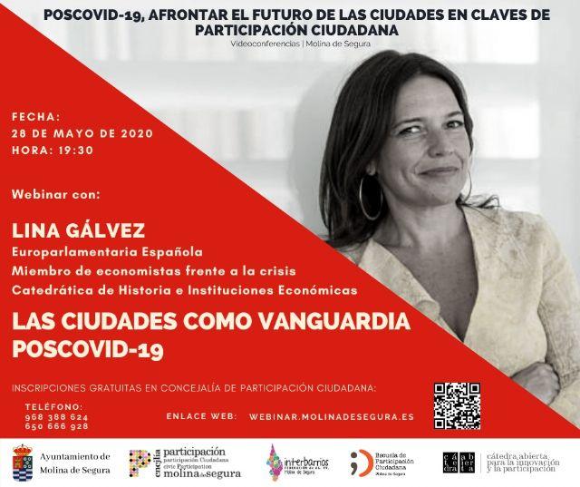 Lina Gálvez abre las Jornadas de videoconferencias Poscovid-19, afrontar el futuro de las ciudades en claves de Participación Ciudadana en Molina de Segura el jueves 28 de mayo - 1, Foto 1