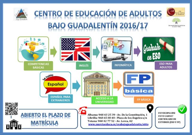 """Continued open enrollment period the Center for Adult Education """"Under Guadalentín"""" for the next course 2016/2017"""