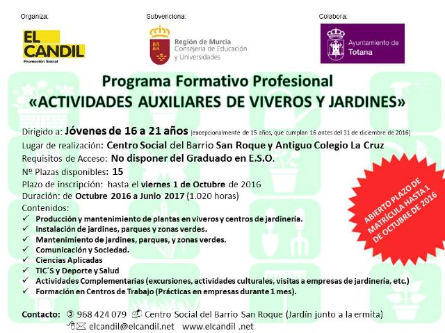 Open enrollment period for professional training program activities auxiliary to nurseries and gardens