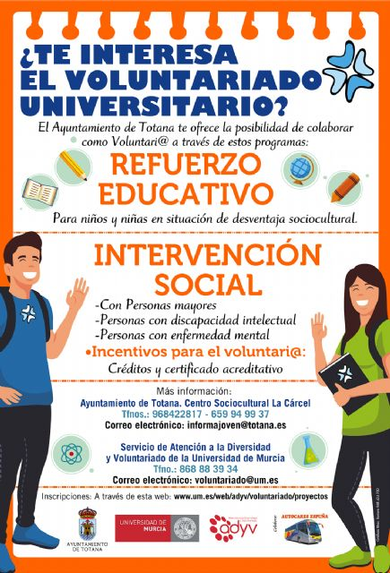 The City Council again offers UMU university students the possibility of participating as volunteers in projects of social interest for the 2019/20 academic year, Foto 1