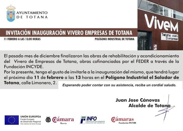 El nuevo Vivero de Empresas de Totana se inaugurará de forma definitiva el próximo 11 de febrero, Foto 1
