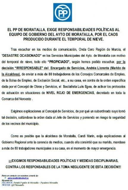 El PP de Moratalla exige responsabilidades políticas al equipo de gobierno por el caos producido durante el temporal de nieve - 1, Foto 1