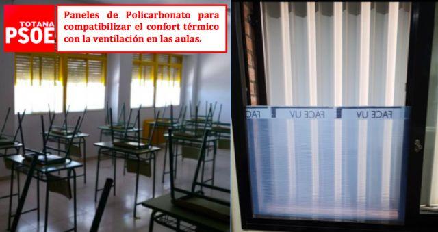 [El Grupo Municipal Socialista pide la instalación de Paneles de Policarbonato en las aulas de los Centros Educativos de Totana lo antes posible