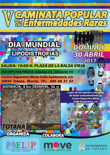 El próximo domingo tendrá lugar la V Caminata Popular por las Enfermedades Raras en Totana