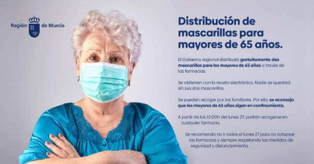 People over 65 can request two surgical masks with their electronic prescription from the Region's pharmacies starting today Monday