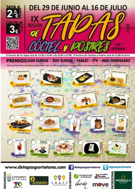 La IX Ruta de las Tapas, el Cóctel y Postres de Totana se celebrará del 29 de junio al 16 de julio