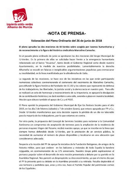 Valoración del Pleno Ordinario del 26 de junio de 2018. IU-verdes, Foto 1