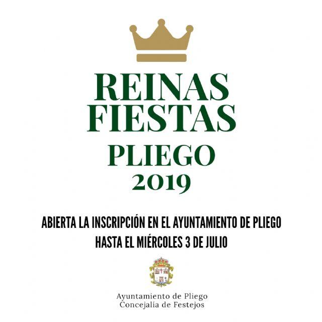 Abierto el plazo de inscripción para participar en la elección de reinas de las Fiestas de Pliego 2019 - 1, Foto 1