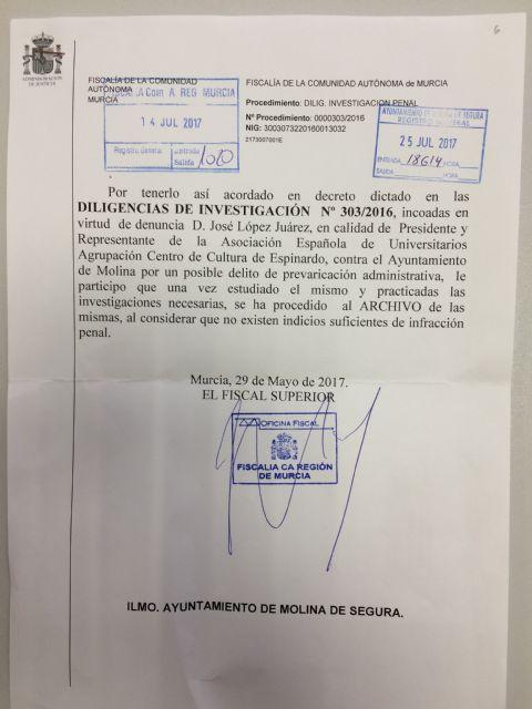 La Fiscalía Superior de la Región de Murcia acuerda el archivo de la denuncia contra el Ayuntamiento de Molina de Segura en el caso del velódromo - 1, Foto 1