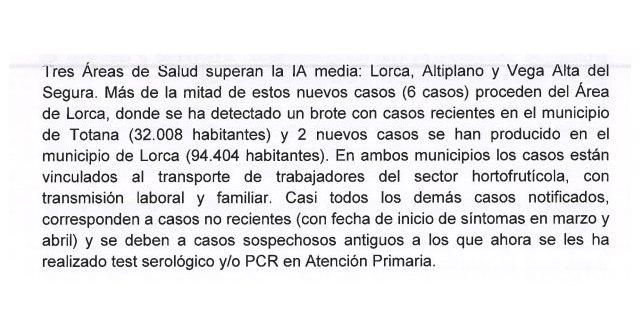 Un informe del Ministerio de Sanidad alertaba en Mayo de la situaci�n en el �rea III de Salud y en especial en Totana, Foto 2