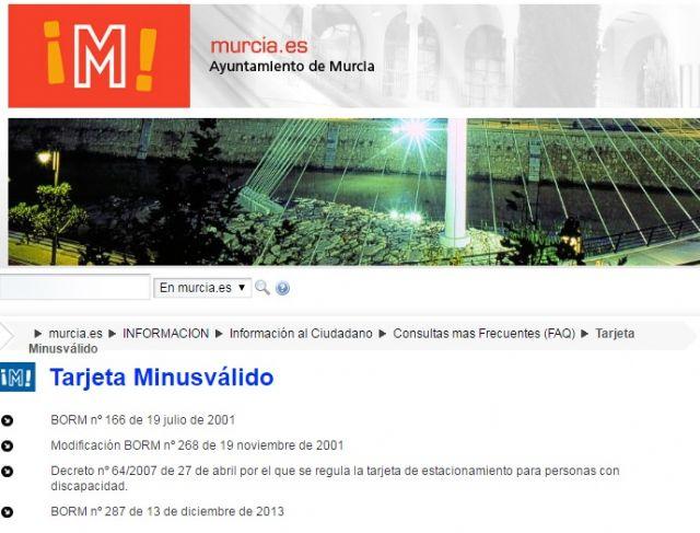 Cambiemos Murcia ha solicitado al Ayuntamiento que deje de usar en su web términos peyorativos como minusválido - 1, Foto 1