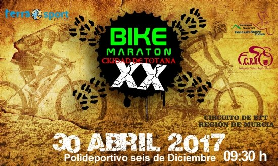 La XX Bike Maraton Ciudad de Totana tendrá lugar el 30 de abril