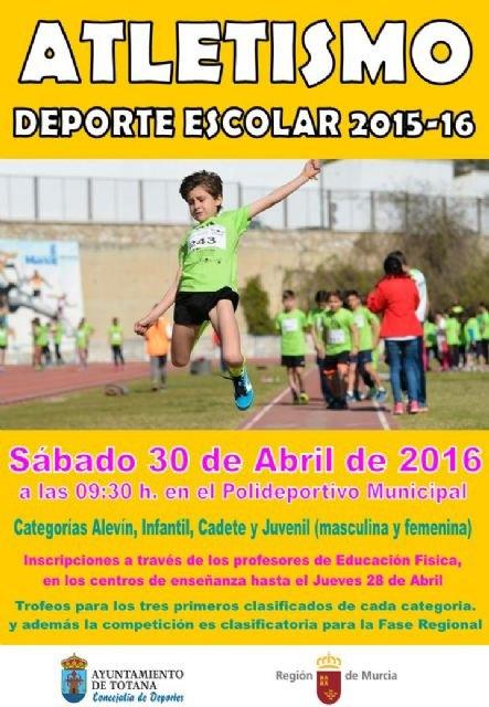 La Fase Local de Atletismo de Deporte Escolar tendrá lugar el próximo sábado 30 de abril