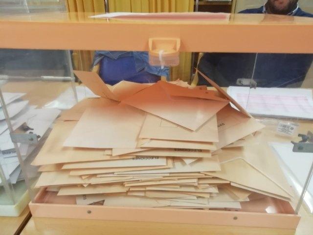 La jornada electoral se desarrolla con total normalidad en Totana, en la que se registra una participación total del 72,49%