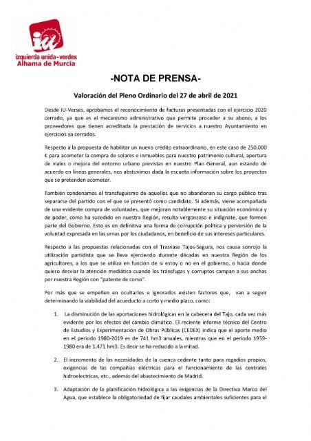 Valoración del Pleno Ordinario del 27 de abril de 2021 - 1, Foto 1