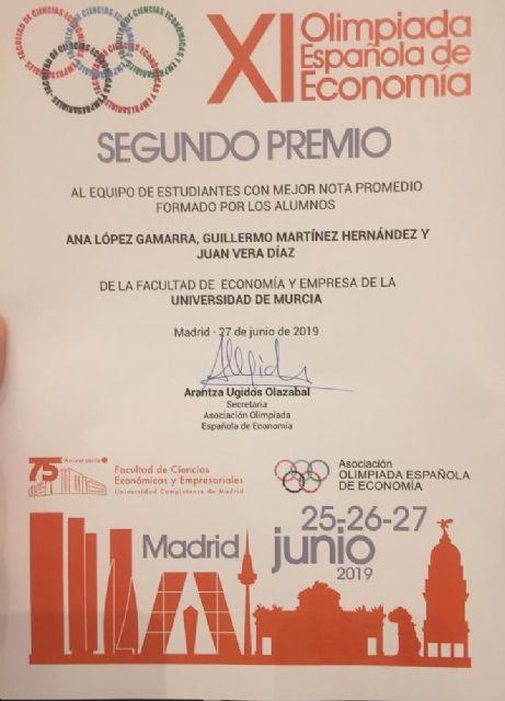 Un equipo de estudiantes de la Región de Murcia logra el segundo puesto en la XI Olimpiada Española de Economía - 2, Foto 2
