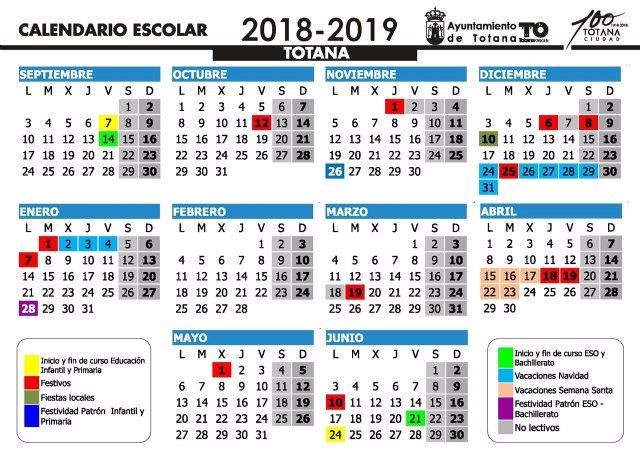 Este curso escolar 2018/19 en el municipio de Totana comenzará en Educación Infantil y Primaria el próximo 7 de septiembre