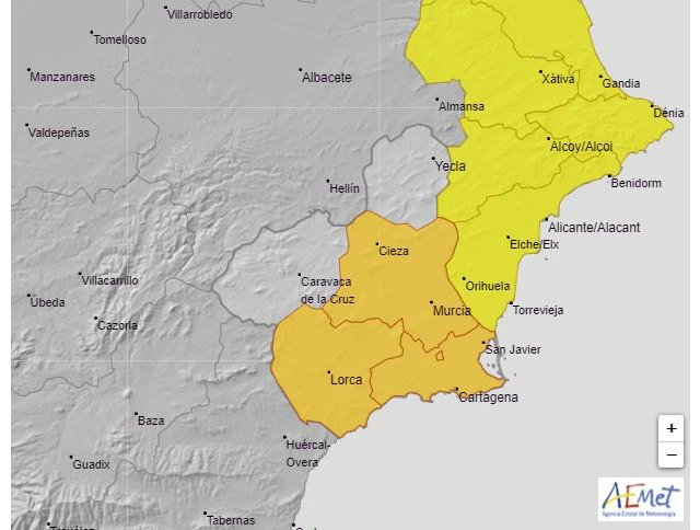 Meteorología advierte de tormentas (aviso naranja) y lluvia (aviso amarillo) para mañana sábado