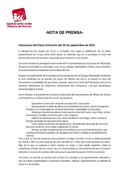 Valoración del Pleno Ordinario del 24 de septiembre de 2021. IU-verdes Alhama de Murcia - 1, Foto 1