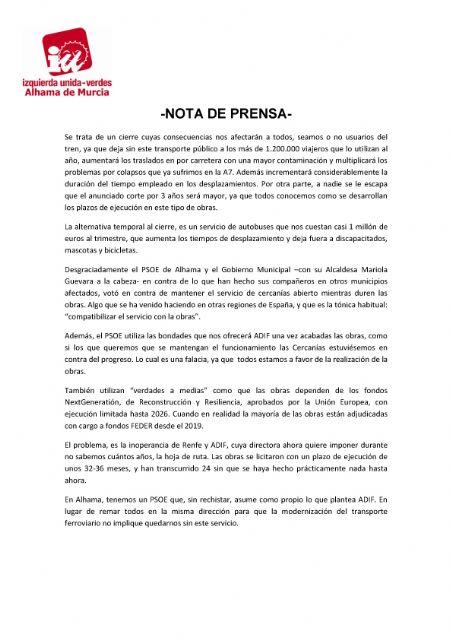 Valoración del Pleno Ordinario del 24 de septiembre de 2021. IU-verdes Alhama de Murcia - 2, Foto 2