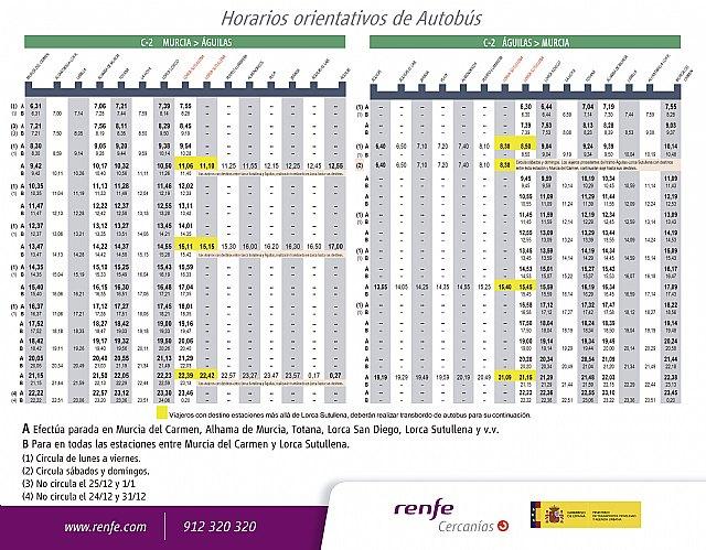 Horarios del servicio alternativo de autobús línea Murcia-Águilas por las obras de ADIF - 1, Foto 1