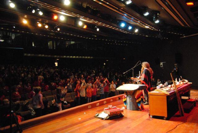 Más de 600 escolares de Totana conocerán mañana el origen de los instrumentos musicales a través de conciertos didácticos a cargo del músico Pablo Nahual, en el Centro Sociocultural