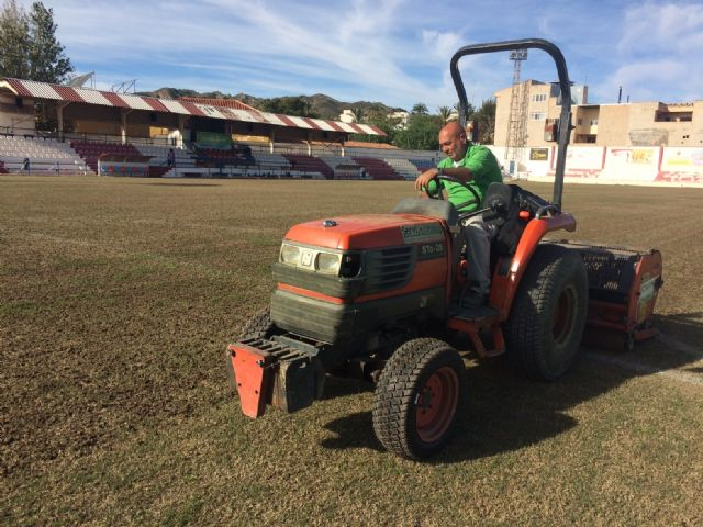 "They carry out reseeding work in the municipal stadium ""Juan Cayuela"" to guarantee its maintenance, Foto 4"