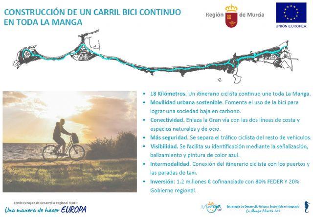 La Comunidad saca a licitación las obras de construcción del carril bici de La Manga por valor de 1,2 millones, Foto 1