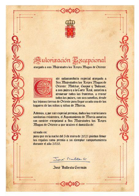 Un salvoconducto del Ayuntamiento permitirá que los Reyes Magos puedan llegar a los hogares de los niños y niñas de Murcia - 1, Foto 1