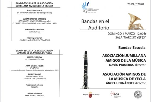 Las bandas-escuela de Jumilla y Yecla llegan al Auditorio regional con un variado repertorio musical - 1, Foto 1