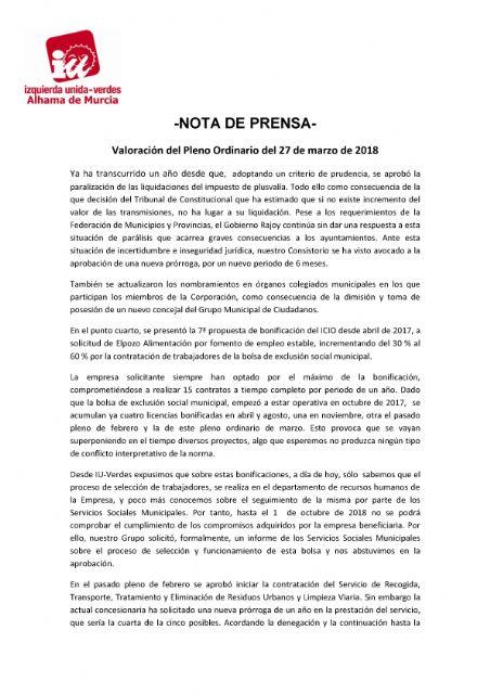 Valoración del Pleno Ordinario del 27 de marzo de 2018 IU-verdes Alhama - 1, Foto 1