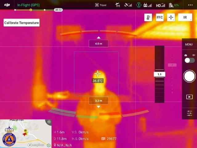 Protección Civil de Mazarrón prueba con éxito un sistema para tomar la temperatura corporal utilizando un dron - 1, Foto 1