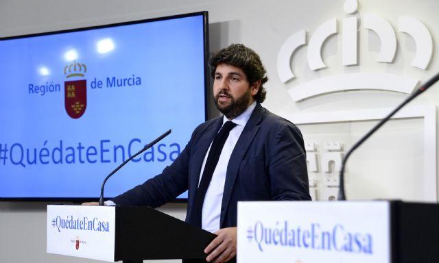 López Miras reclama a Sánchez que en el objetivo común de vencer al Covid-19 faltan los medios para lograrlo, que son lo más importante - 1, Foto 1