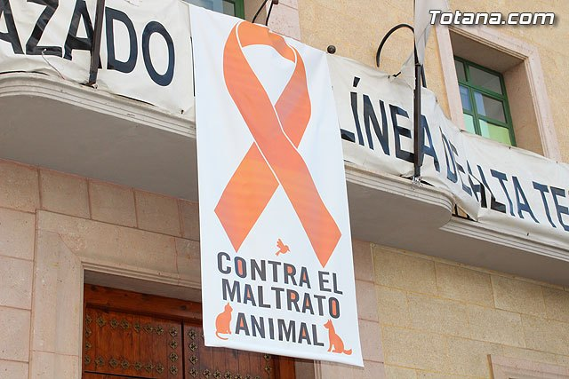 Totana commemorates World Animal Day today by advocating policies against abuse, with the placement of a poster with an orange ribbon on the town hall facade