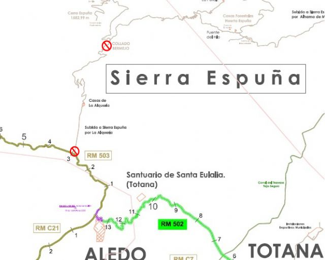 One of the access roads to Sierra Espuña, from the area of ​​Las Alquerías, for improvement work on the highway will be cut off for a month
