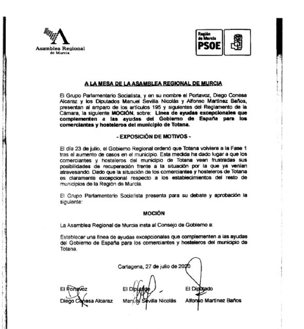 The PSOE asks the Government Council for aid to hoteliers and merchants in Totana