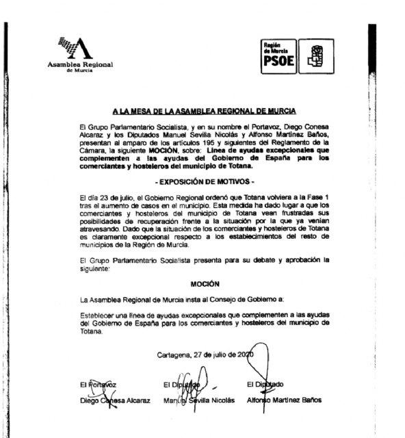 El PSOE pide al Consejo de Gobierno ayudas a hosteleros y comerciantes de Totana - 1, Foto 1
