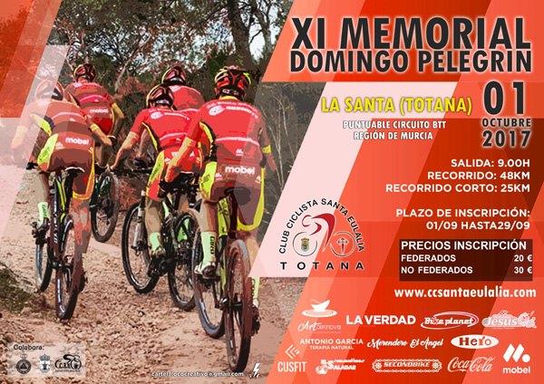 El XI memorial MTB Domingo Pelegrín - circuito BTT (XCM) Región de Murcia tendrá lugar el domingo 1 de octubre