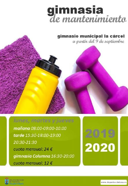 "Next September 9 starts the municipal Maintenance Gymnastics program for the 2019/20 academic year, in the municipal gymnasium ""La Cárcel"""