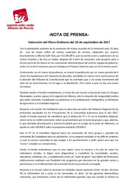 Valoración del Pleno Ordinario del 26 de septiembre de 2017 - IU-verdes Alhama de Murcia, Foto 1