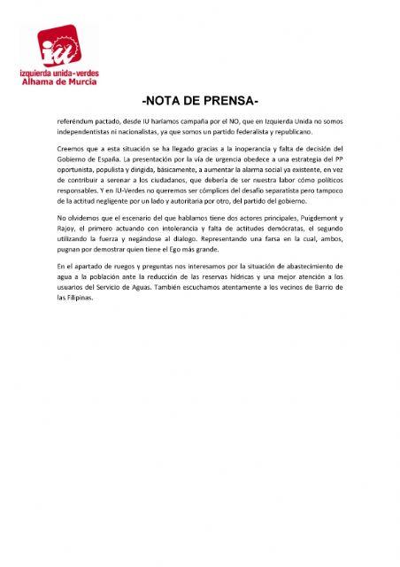 Valoración del Pleno Ordinario del 26 de septiembre de 2017 - IU-verdes Alhama de Murcia, Foto 2