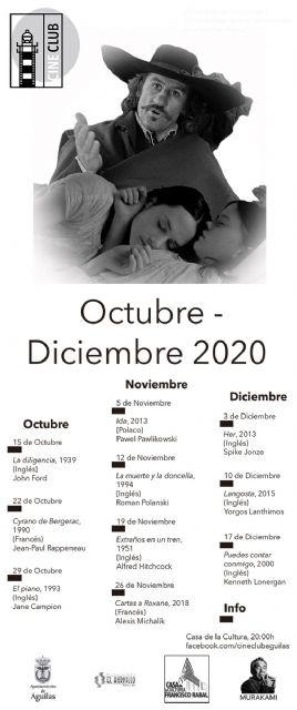 El próximo 15 de octubre comienza un nuevo ciclo del Cineclub Águilas - 1, Foto 1