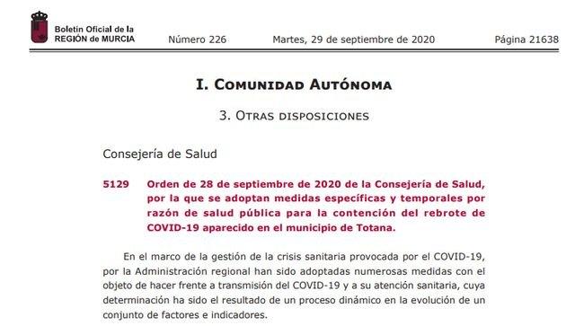 El BORM publica las medidas específicas y temporales por razón de salud pública para la contención del rebrote de COVID-19 aparecido en Totana - 1, Foto 1