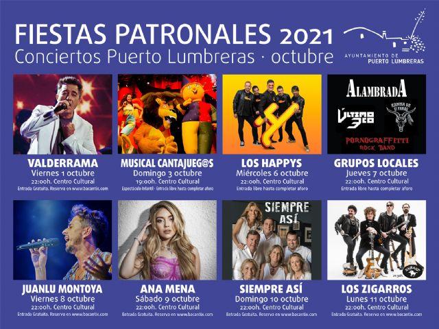 El aforo de los conciertos gratuitos de las Fiestas Patronales de Puerto Lumbreras se amplía en 400 personas más - 1, Foto 1