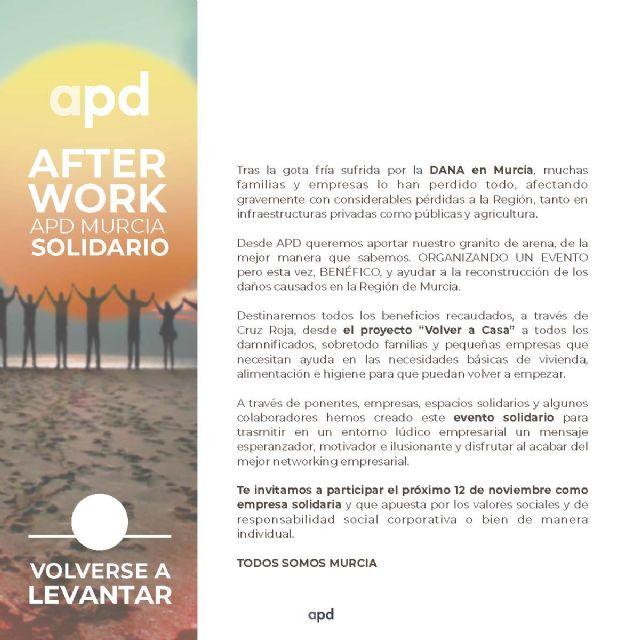 APD organiza un afterwork solidario en beneficio de los damnificados de la DANA en Murcia - 3, Foto 3